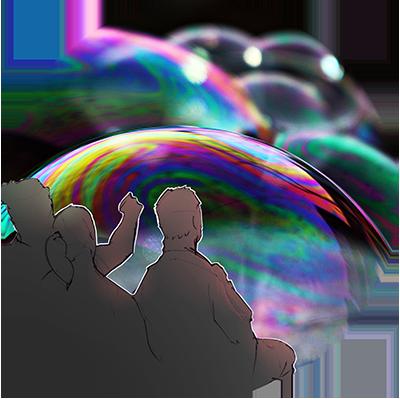 Die Zuseher des Magischen Theaters betrachten riesige Seifenblasen